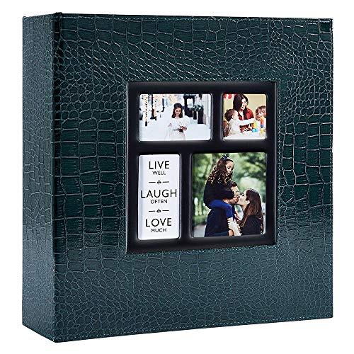 Ywlake Album Albumini Foto Portafoto 10x15 con Tasche Coccodrillo, Grande Albumino Foto Cover in Pelle per Wedding Family (1000 Tasche, Verde)