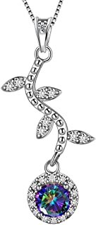 Flower Necklace Women Love 925 Sterling Silver Rose Flower Pendant Mystic Rainbow Topaz Cross Gift Crystal Cubic Zirconia Jewelry Present