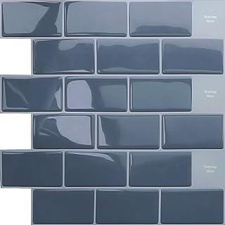 APSOONSELL 立体 タイルシール 高品質 3D 壁紙 タイル 30.5*30.5cm 【4枚セット】 防水 耐熱 リフォームシート 洗面所 キッチン トイレ 凹凸 壁紙 シール 賃貸OK グレー