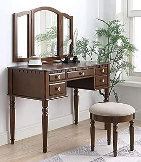 ACME Furniture 90364 Corbulo Vanity Set, Tan Velvet and Cherry