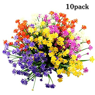 LUCKY SNAIL 10 PCS Artificial Flowers Outdoor, UV Resistant Fake Flowers No Fade Plastic Flowers Faux Greenery Shrubs Plants Indoor Outside Hanging Planter Home Garden Christmas Decor(5 Colors)