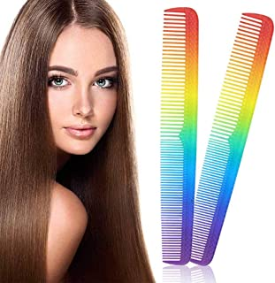 Chennie 2 Pieces Rainbow Hair Comb Portable Hair Cutting Comb Salon Barber Styling Cutting Tools Comb Hairdressing Styling...
