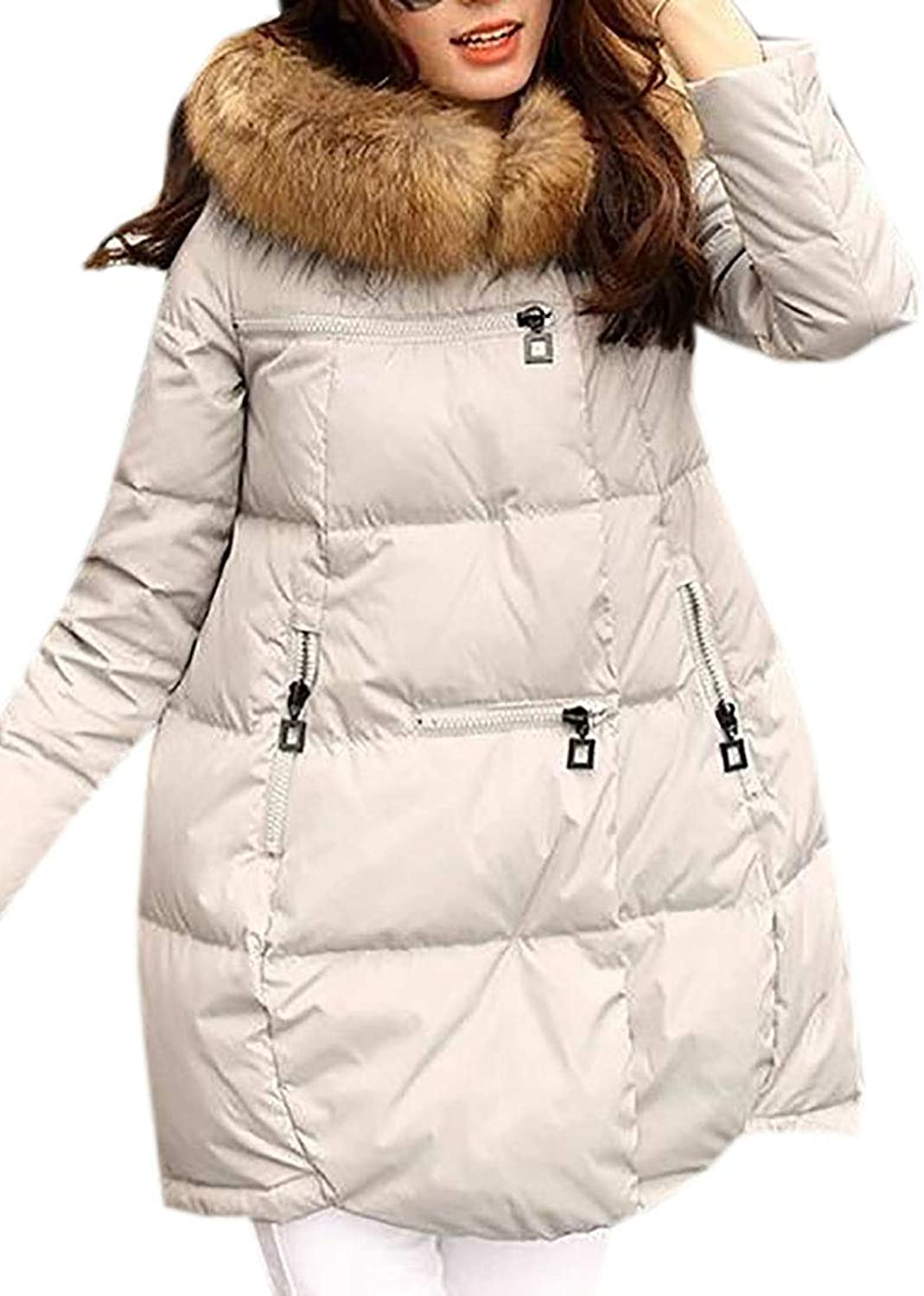 XFuture Womens Parka Quilted Padded Anorak Winter Faux Fur Hooded Puffer Down Jacket