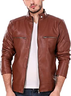 Leather Retail Tan Solid Biker Jacket For Man