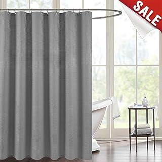 Shower Curtain Grey Waterproof Bathroom Waffle Weave Fabric 70 By 72 Inch