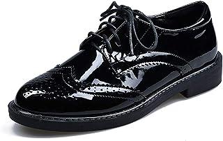 レディース パンプス ローヒール レースアップ ポインテッドトゥ ファッション 美脚 足長效果 パテントレザー イングランド風 歩きやすい 脱げない 疲れない 柔らか素材 22cm 25cm