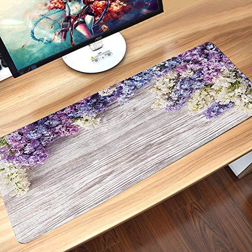 Alfombrilla goma antideslizante para ratón,Casa rústica, ramo de flores de color lila en mesa de madera primavera naturaleza romance amor tema,,Lavable, con diseños, para Gamers, PC y Portátil60x35 cm