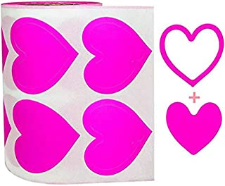 3-Way Pink Love Heart Stickers,Removable Perforated Self Adhesive Hearts Shape Labels - Art & Craft Projects - Sticker-Bom...