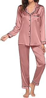 Ekouaer Satin Pajamas Women's Long Sleeve Sleepwear Silk Soft Button Down Loungewear Pjs Set(Blue Green,)