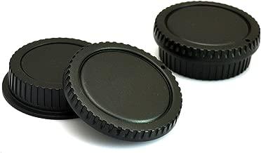 VONOTO 2 Set Lens Cover and Camera Body Cap Set for Canon EOS DSLR (Black)