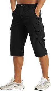 MAGCOMSEN Men's Workout Gym Shorts Quick Dry 3/4 Capri Pants Zipper Pockets Hiking Athletic Running Shorts