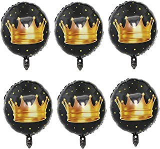 JANOU Crown Balloons 18 Inch Foil Helium Round Black Balloons Birthday Wedding Baby Shower Party Decoration Pack 10pcs