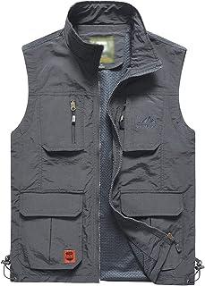 Men's Fishing Vest Outdoor Work Quick-Dry Hunting Zip Reversible Travel Vest Jacket with Multi Pockets
