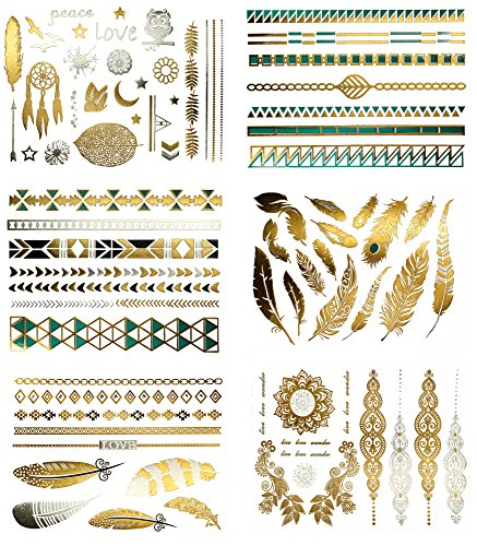 Terra Tattoos Temporary Metallic Tattoos - 75 Boho Turquoise Gold Tattoos