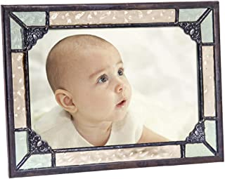 Vintage Picture Frame Green Yellow Stained Glass Displays Vertically or Horizontally Table Top 4x6 Photo Nursery Decor Baby Gift J Devlin Pic 404-46H