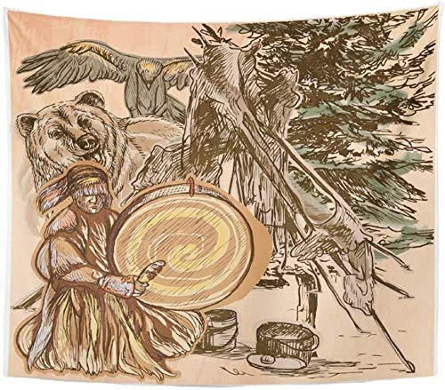 Tapestry Wall Hanging Polyester Fabric Shaman Native Man Drum Drummer Sitting in The Forest Near Him are Grizzly Bear 150x200cm