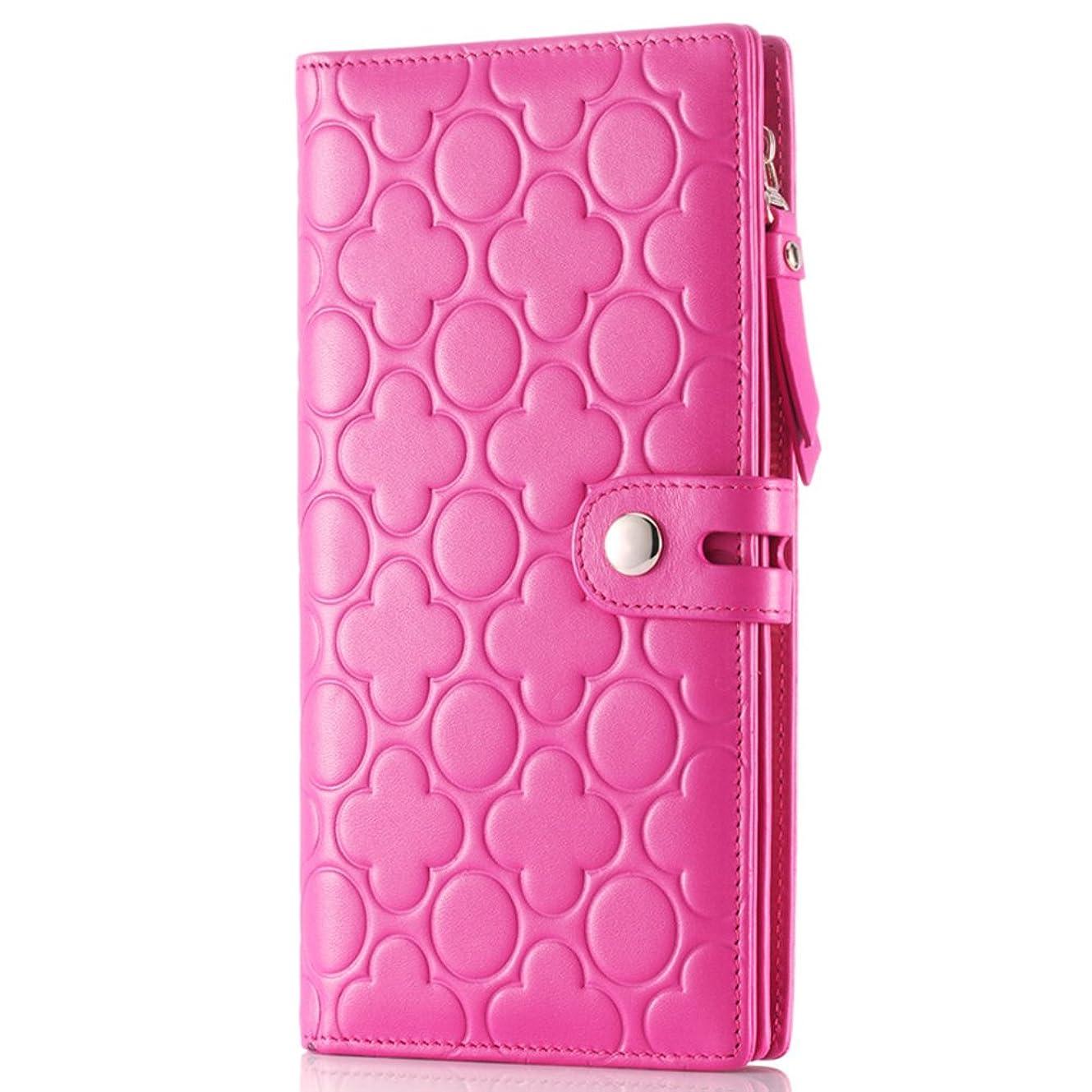 札入れモバイル行進[コンタクトズ]Contacts女性は本革長財布、携帯電話ホルダー、エンボス財布