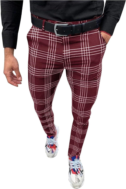 Men's Dress Pants,Mens Casual Sweatpants,Plaid Flat-Front Skinny Business Pencil Long Pants Pocket