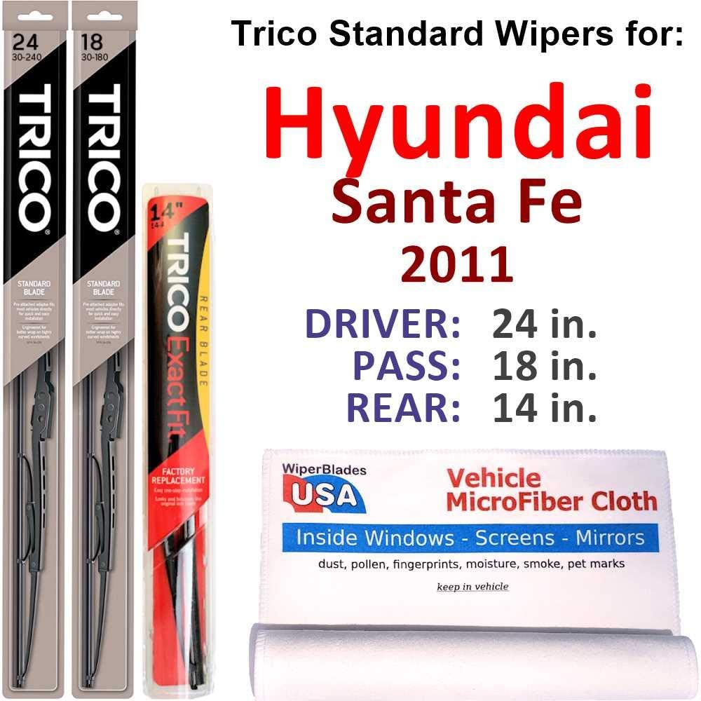 New product! New type Wipers for 2011 Hyundai Santa Max 52% OFF Fe Set S Steel Trico w Rear