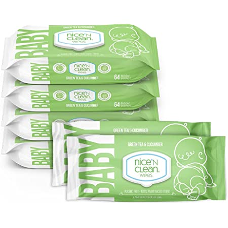 Nice 'N Clean Scented Baby Wipes | Made with Plant-Based Fibers | Green Tea Cucumber Scent | 64 Wipes (Pack of 6)