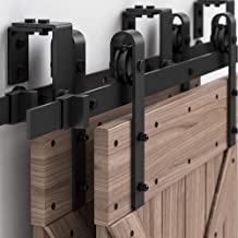 WINSOON 4FT-16FT Metal Sliding Bypass Barn Wood Door Hardware Kit System Bending Design Wall Mount Bracket Fit Double Wooden Doors New Style (10FT)