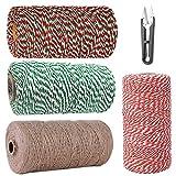 4 rollos de hilo de algodón rojo y verde x100m, cuerda de yute, cuerda de jardín, que se utiliza para envasar regalos hornear decoración navideña, Viene con tijeras hechas a mano