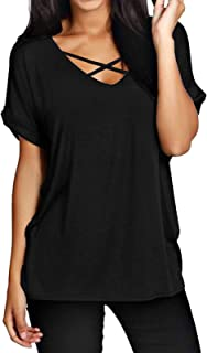 ZANZEA Maglietta Donna Taglie Forti Scollo V Manica Corta Estivo T-Shirt Basic Top
