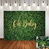 Oh Baby Green Leaves Backdrop Boy Girl Baby Shower Photography Background Newborn Announce Pregnancy Birthday Party Decorations Supplies Banner Photo Studio Props 7x5ft