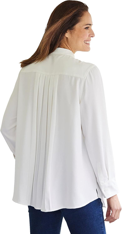 Woman Within Women's Plus Size Long-Sleeve Pleat Back Shirt
