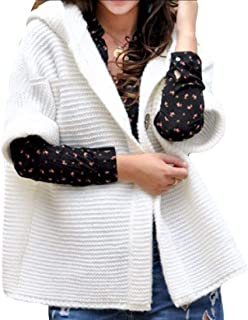 Womens Loose Button Down Cable Knit Cardigans Hooded Sweater Coats