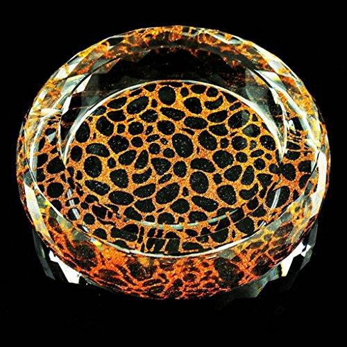 cendrier Xuan - worth having Motif jaune Rond Style lumineux verre Cristal Personnalisé Élégant Décoration de salon (taille : 15*15*4cm)