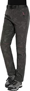 Pantalones de Montaña Mujer Invierno Pantalon Trekking Impermeables Pantalones para Senderismo Pantalón Softshell, Estilo 2: Verde, Gr. EU-M