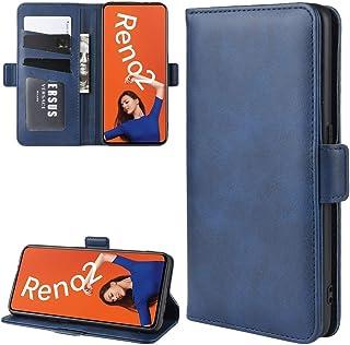 ハードケース OPPO RENO2財布のために財布&ホルダー&カードスロット付きレザー携帯電話ケースをスタンド (色 : Dark Blue)