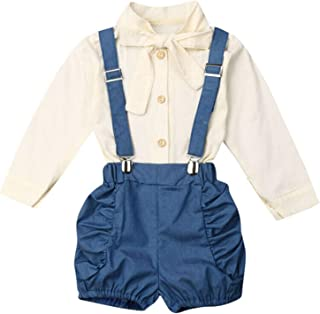 Newborn Clothes Buttons Down Suspender Bloomers