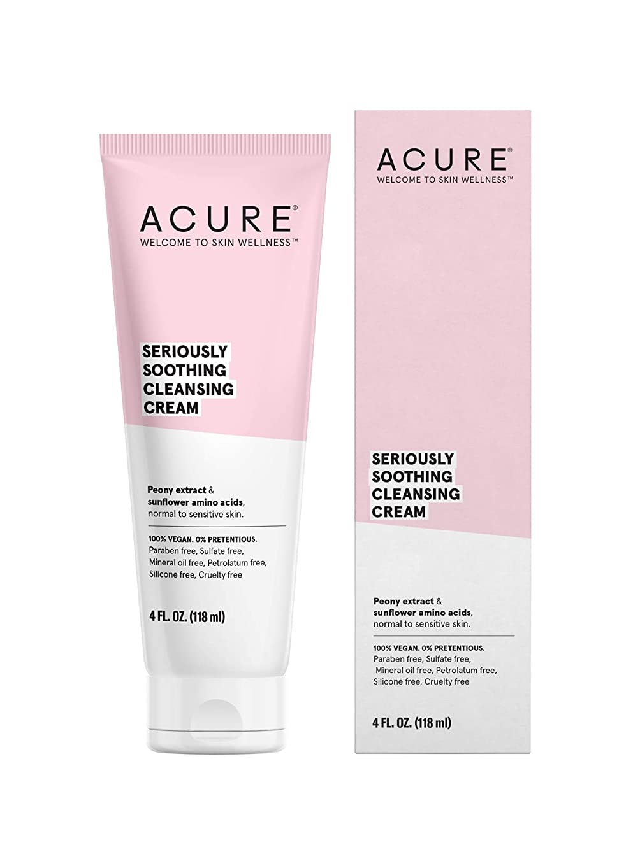 触覚予防接種とげのあるAcure Organics, Sensitive Facial Cleanser, Fragrance Free, 4 fl oz (118 ml)