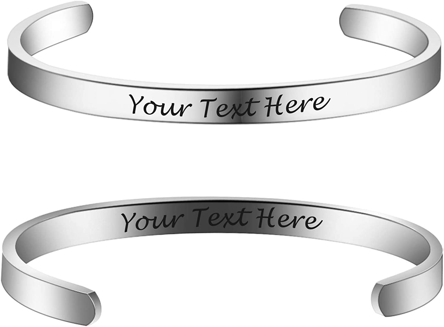 6MM 8MM Personalized Inspirational Bracelets Custom Engraved Name Mantra Quote Any Message Bangle Cuff Customizable
