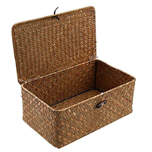 WCIC Aufbewahrungsbox, Aufbewahrungskiste Deko Boxen Kästen Möbel Wohnaccessoires Aufbewahrungsboxen Seegras Körbe Kleine Größe 23cmX13cmX8cm
