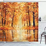 Ambesonne Country Shower Curtain, Painting of a Forest by The Small Lake in Autumn Pale Fall Trees and Leaves Art, Cloth Fabric Bathroom Decor Set with Hooks, 75' Long, Orange Brown