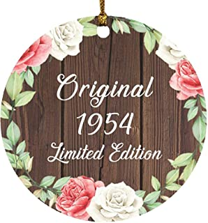 67th Birthday Original 1954 Limited Edition - Circle Wood Ornament A Christmas Tree Hanging Decor - for Friend Kid Daughte...