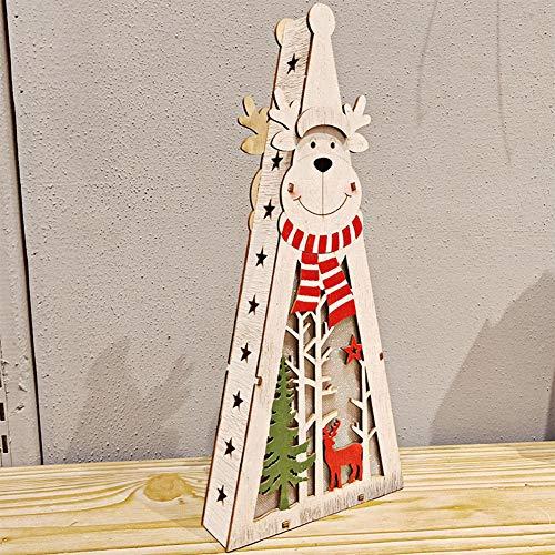 MeterMall Gift Lichtgevende Houten Xmas Decoratie Kerst Decor Ornament met LED Licht Mall raamdecoratie