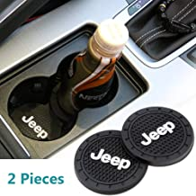 2 Pack Silicone 2.75 inch Car Cup Interior Accessories Anti Slip Cup Mat for Jeep Grand Cherokee Wrangler Compass Cherokee Renegade Patriot Grand Comander Decoration etc All Models (black&White)