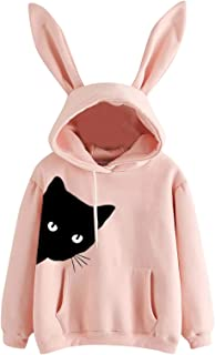 Xmiral Vrouwen Hoodie Lange Mouw Konijn Borduurwerk Sweatshirt voor Vrouwen Katoen Trui Tops Blouse