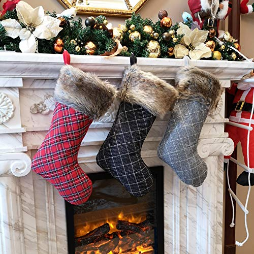 WEWILL 19'' Buffalo Plaid Christmas Stocking Decoration with Faux Fur Cuff Themed with Tree Skirt(Not Included)