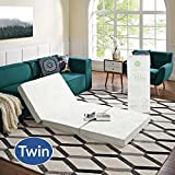 Modway Relax Tri-Fold Mattress CertiPUR-US Certified with Soft Removable Cover and NonSlip Bottom, 39inch x 75inch x 4inch, Twin