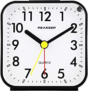 Peakeep Small Battery Operated Analog Travel Alarm Clock Silent No Ticking, Lighted on..