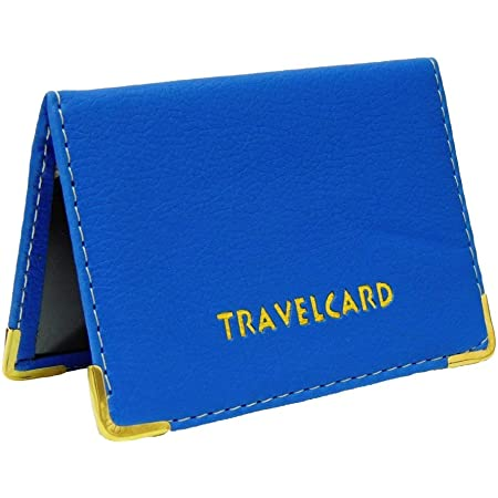 Soft Leather Travel Card Bus Pass Credit Card ID Card Wallet Cover Case Holder by Kwik Buy (Blue)