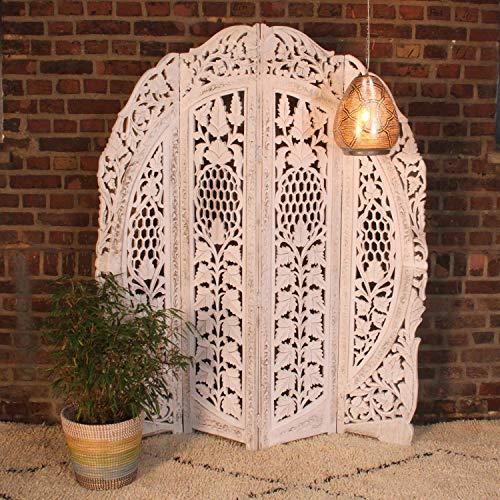 Casa Moro Orientalischer Paravent Raumteiler Samrina weiß 153x182 cm 4 teilig aus Massiv-Holz & MDF handgeschnitzt | Indische Trennwand als Raumtrenner & schöne Dekoration | Kunsthandwerk | PV7020