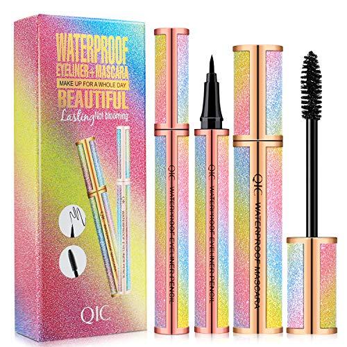 4D Silk Fiber Lash Mascara & Eyeliner Black Set, Longer & Thicker Lashes, Voluminous Eyelashes, Long Lasting Waterproof, Clump-Free, Smudge-Proof, Natural Adds Length, Depth and Glamour Effortlessly