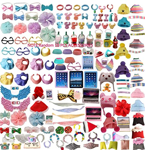 jwrac lps Accessories lot (Random 10 PCS) Laptop Hat Glasses Wings Clothes Bow Skirt Collar Food and Drink Fit LPS Cat and Dog Collie Dachshund Cocker Spaniel Shorthair Cat Husky Puppy