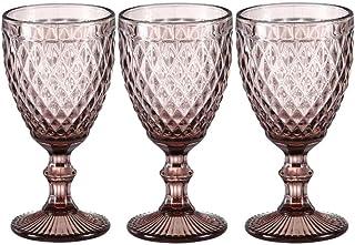 Wine Glasses set of 3 Red Wine Glass 10oz for Party Wedding Chalice Goblet Vintage Pattern Embossed Chalice Goblet (Pink)